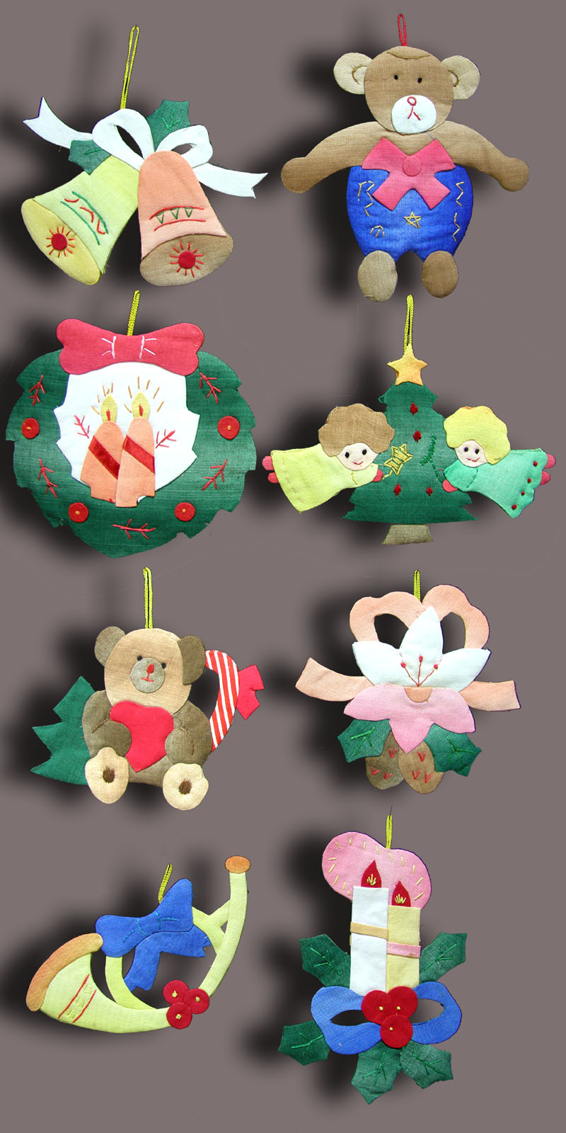 Hand embroidery patch work christmas decorations for Hand work decoration